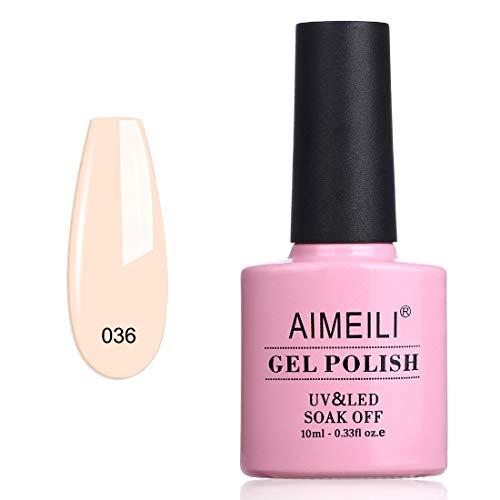 AIMEILI Soak Off UV LED Gel Nail Polish - Soft Peach Pink (036) 10ml