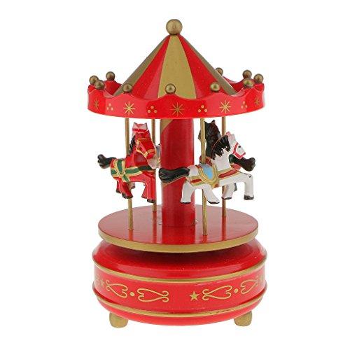 Generic Boîte à Musique Carrousel Manège Bois Rainbow Décoration Cadeau Jouet Musical pr Enfant (10 Styles) - Rouge et Or, L