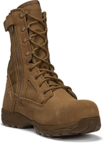TACTICAL RESEARCH TR Men's Flyweight TR596Z CT 8' Hot Weather Side-Zip Composite Safety Toe OCP Air Force Boot - Coyote Brown Cattlehide Leather, Safety Rated for Electrical Hazards (EH), Coyote - 12 R