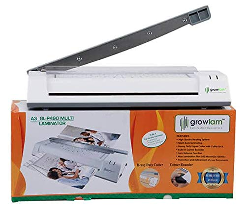 Growlam Lamination Machine A3 / A4 Size Multi Functional with inbuilt Paper Cutter | Corner Rounder | Laminator | Stylish Design