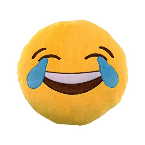 Emoji Kissen Emoticon Emojicon Lach Smiley Kissen Dekokissen Stuhlkissen Sitzkissen Gelb Rund (3# Lachen zu Tränen)