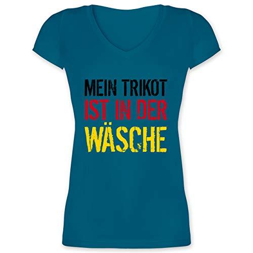 Fußball-Europameisterschaft 2021 - Mein Trikot ist in der Wäsche WM Deutschland - XL - Türkis - wm Trikot 2018 Frauen Deutschland - XO1525 - Damen T-Shirt mit V-Ausschnitt