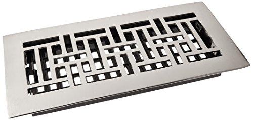 Decor Grates AJ410-NKL 4-Inch by 10-Inch Oriental Floor Register, Solid Brass, Brushed Nickel Finish
