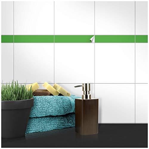 Wandkings Fliesenaufkleber - Wähle eine Farbe & Größe - Hellgrün Seidenmatt - 5 x 20 cm - 100 Stück für Fliesen in Küche, Bad & mehr