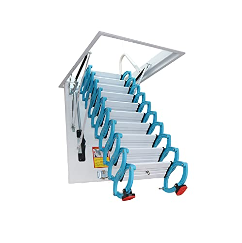 Invisible attic Telescopic Ladder Ceiling fold Stairs Home Alloy loft Ladder Pull Down Customizable Size 5ft-13ft (Height: 7.54ft,Hole: 31.49in47.24in)