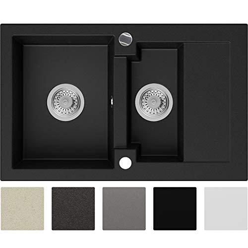 Granitspüle Schwarz 74 x 47 cm, Spülbecken + Siphon Automatisch, Küchenspüle ab 60er Unterschrank in 5 Farben mit Siphon und Antibakterielle Varianten, Einbauspüle von Primagran