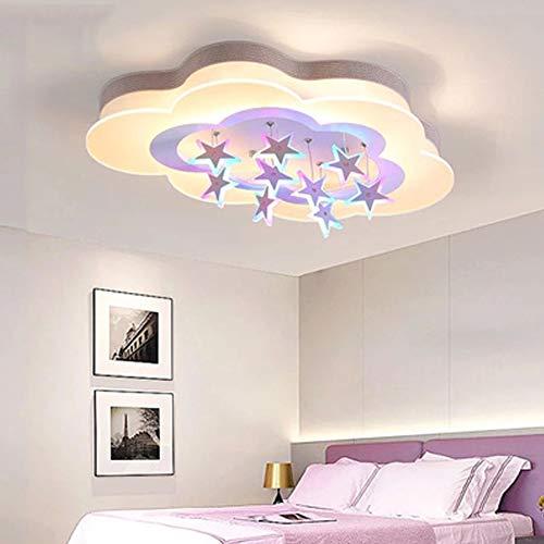 Plafonniers LED lampes plafond pépinière étoiles Creative nuage blanc LAMPSHADE DeckenbeSternen éclairage jeune fille Chambre Villa Salon télécommande réglable,50 * 35 * 10cm〜37 w