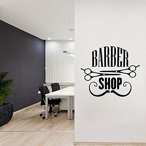 Barbería pegatinas de pared arte tatuajes de pared calcomanías de vinilo decoración de la habitación peluquería barba tijeras