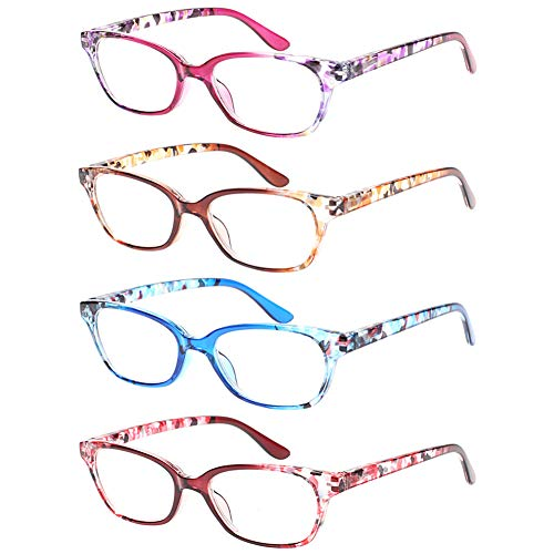4 Pack Ladies Reading Glasses Spring Hinges Pattern Stylish Readers for Women (1.75, 4 Mix)
