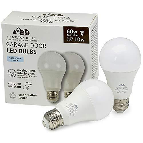 Hamilton Hills Garage Door LED Bulbs | Replacement Lights for Opener Damp Weather Resistant 4000K 2PK