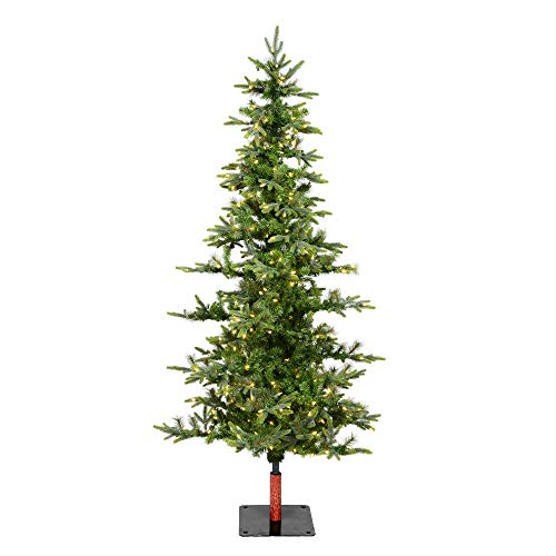 Vickerman 7' Shawnee Fir Artificial Christmas Tree, Warm White LED Dura-lit Lights - Faux Christmas Tree - Natural Wood Trunks - Seasonal Indoor Home Decor