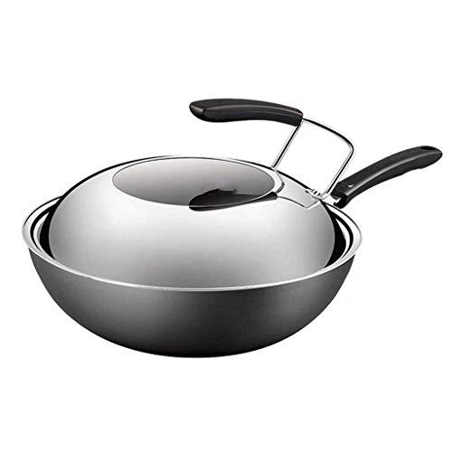 ZLDGYG Universal Pot Cooks standard Stir-ménagères Poêle à frire avec dôme Couvercle multi-Ply Clad Wok, Argent