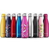 Proworks Botellas de Agua Deportiva de Acero Inoxidable | Cantimplora Termo con Doble Aislamiento para 12 Horas de Bebida Caliente y 24 Horas de Bebida Fría - Libre de BPA - 1L - Rosa - Unicornio