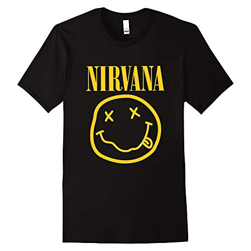 Nirvana T Shirt Kurt Cobain Smiley Funny Rock (Unisex Tshirt Gr. S/M/L/XL) (Medium, Gelb Motiv (Yellow Print))