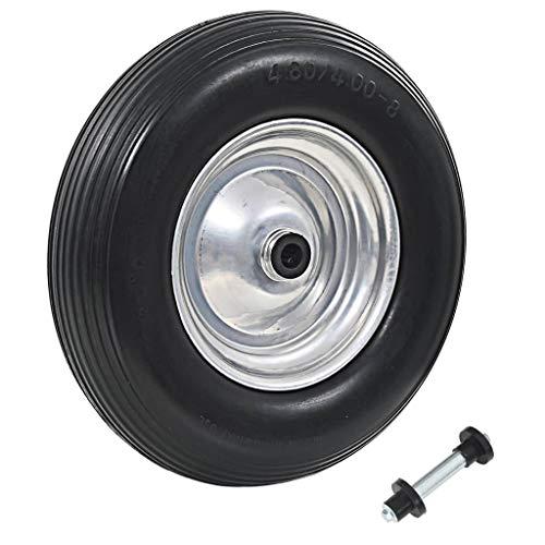 Festnight Schubkarrenrad mit Achse | Sackkarre Ersatzrad Rad Reifen | Handkarren Rollwagen Ersatzreifen | Massives PU 4,00-8 390 mm
