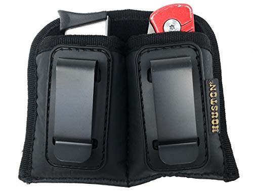 IWB Double Magazine & Multi Use Holster - by Houston - Concealment Clip Fits Most Small 380/22/25 Caliber Like Glock 42, Keltec, Ruger, BG (Double Small Single Stack .380/.22 /.25 Cal)
