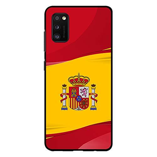 BJJ SHOP Funda Negra para [ Samsung Galaxy A41 ], Carcasa de Silicona Flexible TPU, diseño : Bandera de España