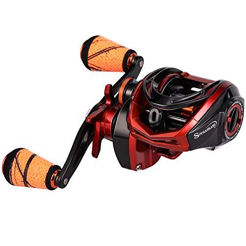 Sougayilang Baitcasting Reel 18LB Carbon Fiber Drag Baitcasters Unequaled Affordable High-tech Innovation Baitcast Fishing Reels - Orange -Right Handed