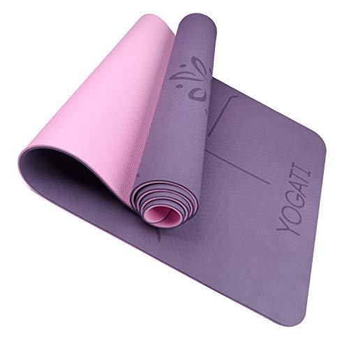 YOGATI - Tapis Yoga Antidérapant et Epais. Tapis de Yoga avec des repères d'alignement du Corps. Tapis de Sport pour Adultes et Enfants. Tapis de Gym idéal pour Pilates et Fitness. Yoga Mat