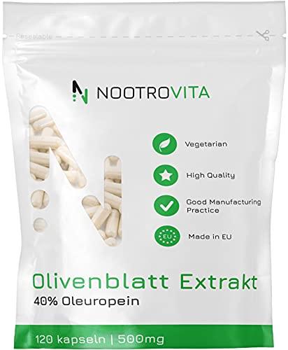 NV Olivenblattextrakt Kapseln mit 40% OLEUROPEIN | 120 Vegan Kapseln, Hochdosiert | Reich an Polyphenolen und Antioxidat | Allergen und Gluten Frei | Hergestellt in ISO-Zertifizierten Betrieben