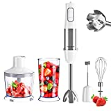homgeek 5-in-1 Immersion Hand Blender 500w, 6-Speed Stick Handheld Blender, Stainless Steel Electric Mixer with BPA-free Food Chopper, 600ml Beaker, Whisk, Milk Frother for Soups, Baby food, Shakes, Smoothie, Meat, Eggs, Fruit, Veggie