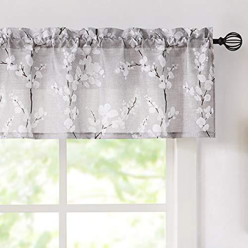 "Valance Curtains for Kitchen Window Living Room 15"" White Blossom Print Short Valance for Bathroom Floral Window Treatment Set 54""W Tan Rod Pocket 1 Panel"