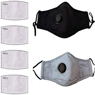 2 Pack with 1 Lanyard Adjustable Cloth Face Mask Reusable with Filter Washable Breathable Cotton Mouth Cover with Breathing Valve&Nose Clip with Activated Carbon Filter 2 Pack-4 Filters1Lanyard