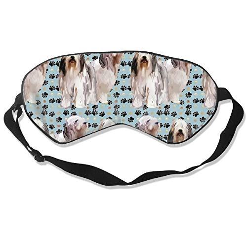 Schlafmaske, Augenbinde, super glatte Augenmaske mit Bart und Pfotenabdrücken