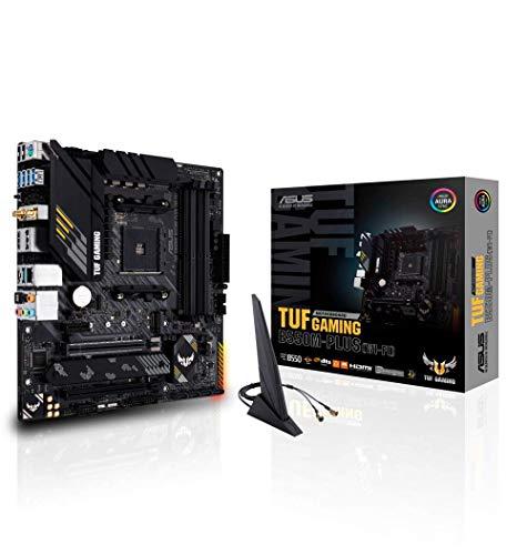 ASUS TUF GAMING B550M-PLUS (WI-FI) – Carte mère AMD B550 (Ryzen AM4), mATX, PCIe 4.0, 2xM.2, DDR4 4400, WiFi 6, Ethernet 2.5 Gb, HDMI, DisplayPort, USB 3.2 Gén. 2 Type-A et Type-C, Aura Sync RGB