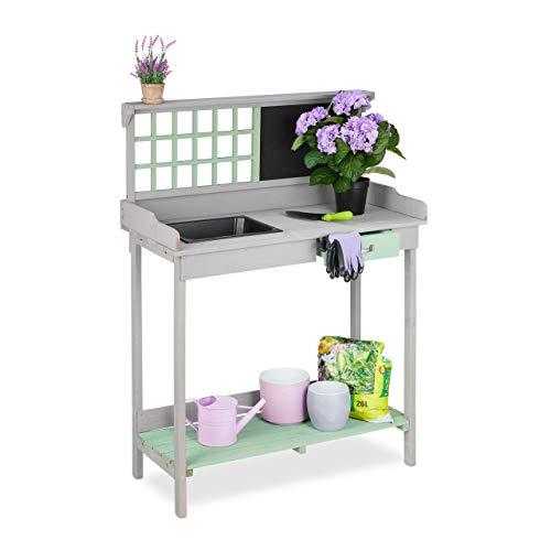 Relaxdays Pflanztisch mit Wanne, 2 Ebenen, Gartenarbeitstisch mit Schublade, Holz, HBT: 121 x 92 x 42,5 cm, grau/grün