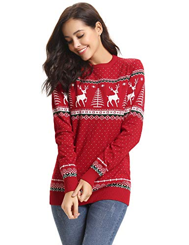 Abollria Women Jumpers Christmas Reindeer Long Sleeve Chunky Knitted Ribbed Sweater Jumpers Knitwear Top Red