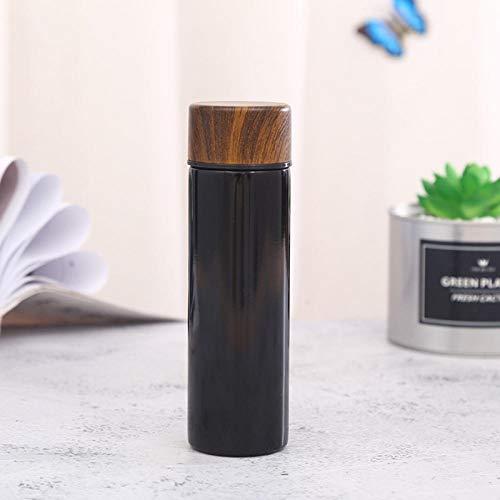 Yumanluo Cantimplora Termo con Doble Aislamient,Mini Vaso de Agua de Bolsillo para petaca-Negro,Botella de Agua Acero Inoxidable