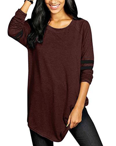 VONDA Oberteile Damen Langarmshirt Baseball T-Shirt Casual Oversize Longshirt Farbblock Pullover Gestreift Tuniken A-Weinrot L
