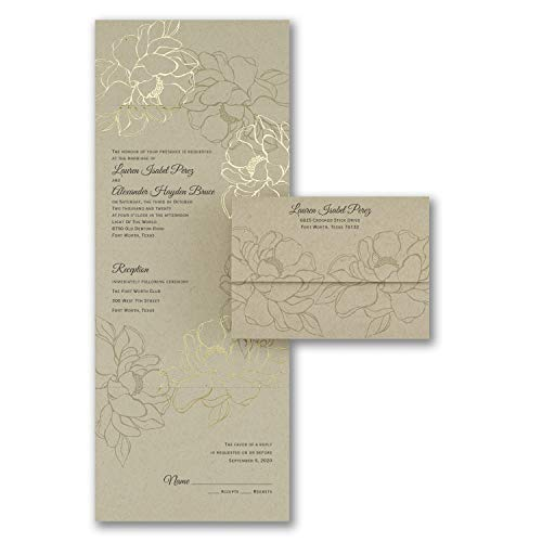 Wedding Invitations, Natural Gold - Seal 'n Send