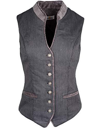 Almsach Trachtenmieder Damen schwarz | Mieder MA 173 Streifen schwarz grau | gestreift | Damen Trachten | hochgeschlossen V-Ausschnitt Knöpfe (40)