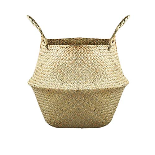 Mallalah - Cesta de almacenamiento de mimbre, cesta de flores trenzada plegable, cesta para la ropa sucia en junco de mar con asa, 3 tamaños a elegir