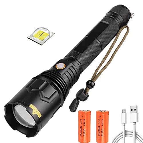 Linterna LED XHP70, superbrillante 20000 lúmenes recargable zoom 5 modos antorcha de mano potentes linternas tácticas prueba de agua, lámpara para exteriores con función banco energía para acampar
