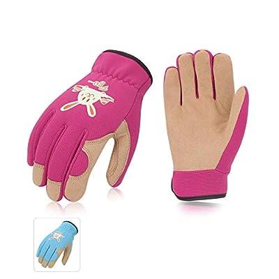 Vgo 2Pairs Kids Gardening, Lawning, Working Gloves (2Colors, KID-SL7362)