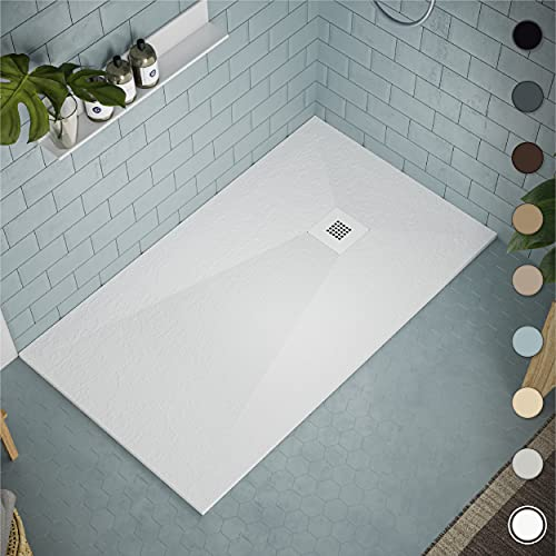 Receveur de douche 70 x 140 modèle Allier - Texture Ardoise et antidérapante - Finition mat - Toutes les tailles sont disponibles - Fourni avec grille peinte et siphon - Blanc RAL 9003
