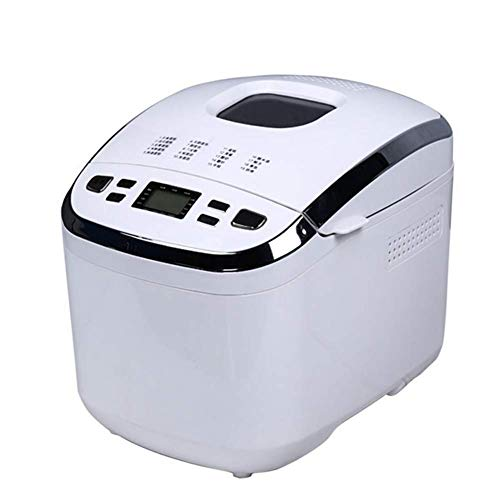 HAOSHUAI Automatische Ontbijt broodmachine, met LCD scherm en transparant Rapid Bak Brood Maker, Home Multifunctionele Brood Machine, wit