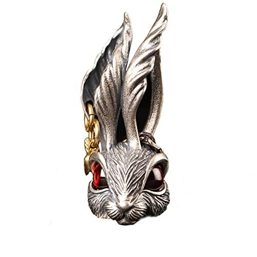 Huakaimaoyi Collar de plata de ley 925 con colgante de conejo, cadena de cruz con orejas grandes, joyería de plata para hombres y mujeres,
