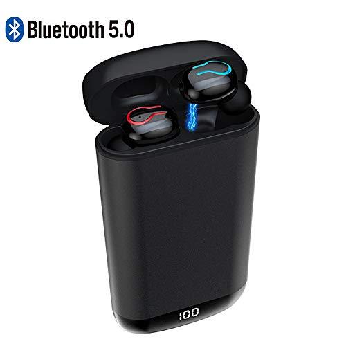 Braveking1 Auriculares Bluetooth, Auriculares Inalámbricos Deportivos Bluetooth 5.0 IPX5 Impermeable 360 Horas Autonomía con 6000mAh Caja de Carga Mic Cascos Bluetooth Deporte para iOS Android,Negro