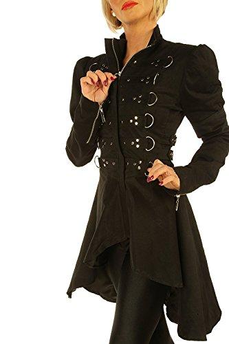 Leatherotics Giacca lunga da donna in cotone, stile steampunk, colore nero, STP6 Nero  XS