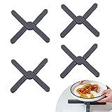 EXLECO 4 salvamanteles de silicona resistente al calor, plegable, protección contra el calor, soporte para ollas, sartenes calientes, cuencos (negro)