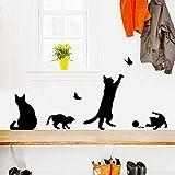DINGDONG ART Stickers Muraux Chats Mignons Jouant Au Ballon Papillon Animaux De Bande DessinéeDécorations De Chambre d'enfantsStickersMaison36 * 42 Cm