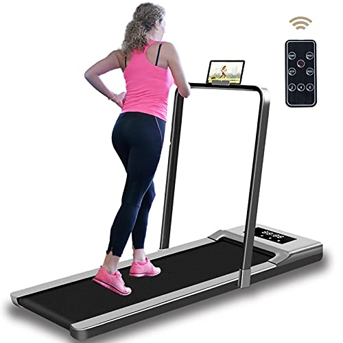 AJUMKER Electric Walking Machine Under Desk Treadmill for Home Office Workout with Remote Control,Portable Indoor Fitness Treadmill Ultra Thin Silent Energy Saving,Installation-Free & LCD Display