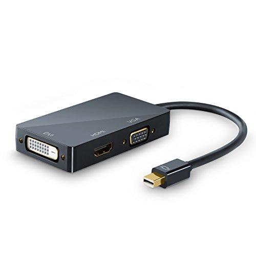 CSL - 4k 3in1 Mini Displayport 1.2 zu HDMI VGA oder DVI Adapter - 3840x2160 UHD 2160p 4k - kompatibel mit PC MAC APPLE ASUS Dell Google Lenovo HP Toshiba Video und Audio-Übertragung - schwarz Hochglanz