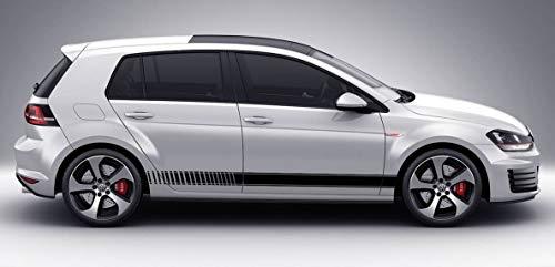 Unbekannt Vinyl-Seitenstreifen-Abziehbilde Aufkleber für VW Golf GTI Produkt 4 (Schwarz)