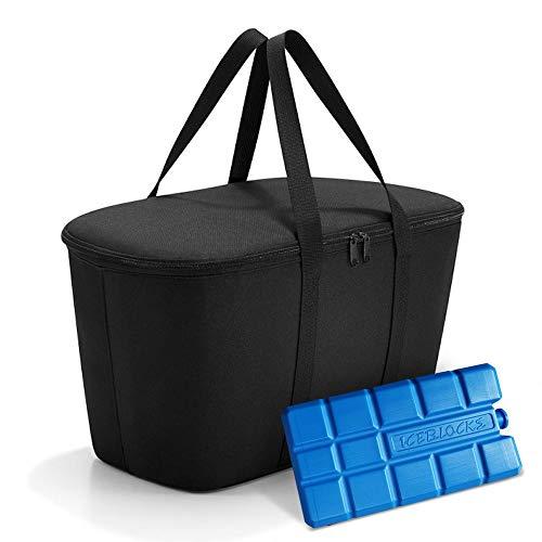 reisenthel coolerbag mit Kühlakku - isolierte Kühltasche, faltbar, robust, mit Reißverschluss - 44,5 x 24,5 x 25 cm, Volumen: 20l - Exklusives Set, Black (7003)