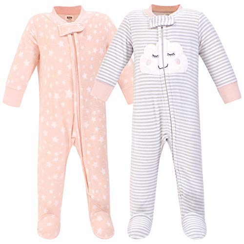 Hudson baby Unisex-Baby Fleece Sleep and Play, Pink Cloud 2-Pack, 6-9 Months (9M) Kleinkind, Schlafsack, Rosa Wolke, Monate